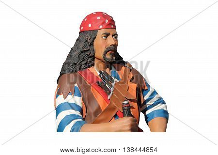 A Statue Model of a Classic Pirate Figure.