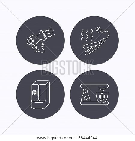 Curling iron, hair dryer and blender icons. American style fridge linear sign. Flat icons in circle buttons on white background. Vector