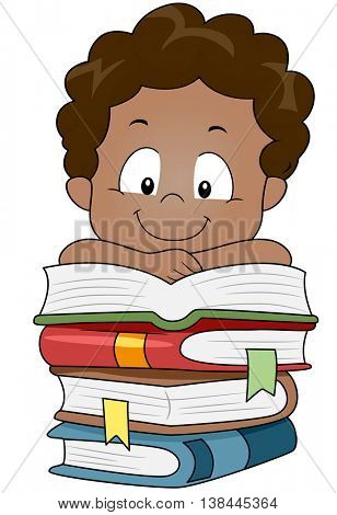 Illustration of a Kid Resting His Arms on a Pile of Books