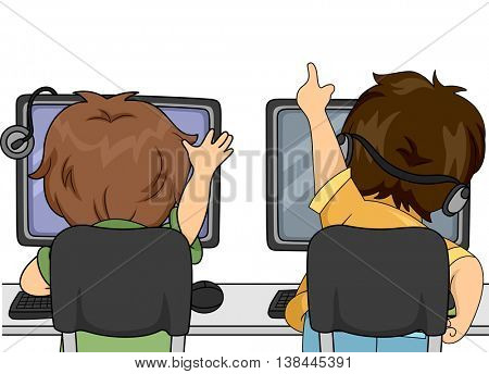 Illustration of Little Boys Playing a Computer Game