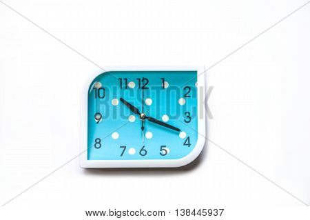 Blue alarm clock isolated on white backgroundClose up Blue alerm clock clipping path