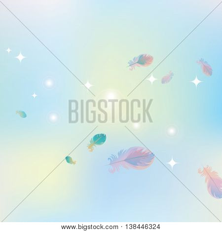 abstract pink blue background of stars and glare with bird feathers