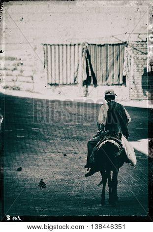 Vertical vintage black and white turkish horse rider postcard background backdrop