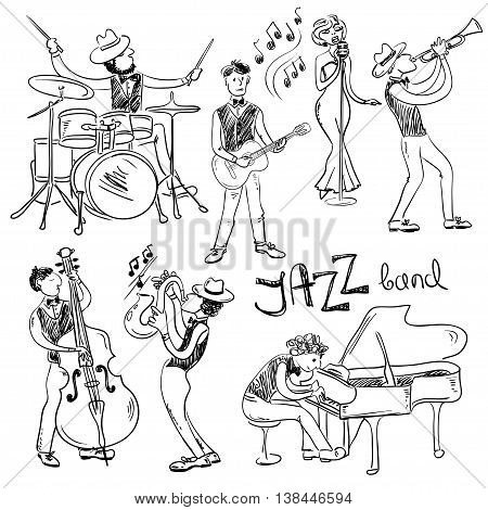 Funny set of isolated sketch hand drawn jazz musicians. Jazz band icons.