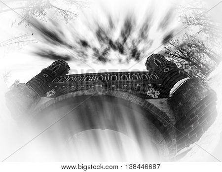 Horizontal Black And White Dark Castle Abstract Background
