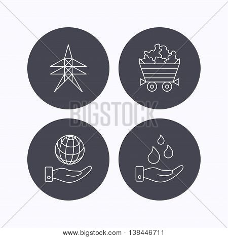 Save water, planet and electricity station icons. Minerals linear sign. Flat icons in circle buttons on white background. Vector