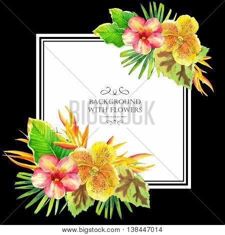 Illustration With Realistic Watercolor Flowers. Aloha Hawaii.