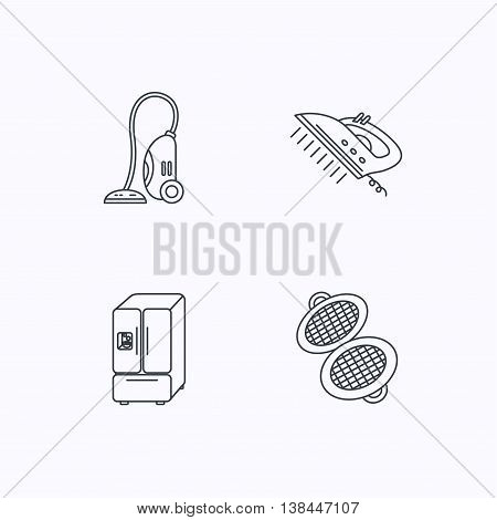 Vacuum cleaner, steam ironing and waffle-iron icons. American style fridge linear sign. Flat linear icons on white background. Vector