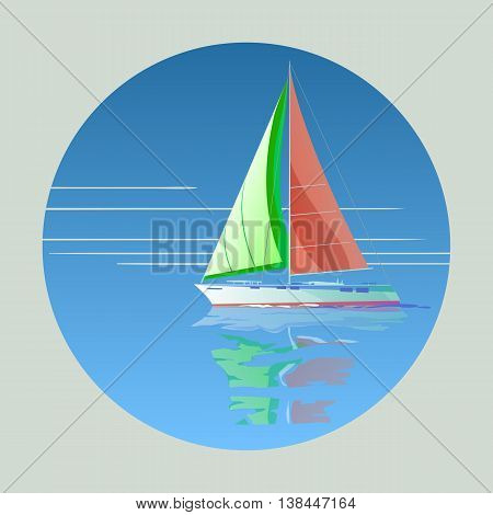 Sailing yacht with red sail in the range of background and reflection in water