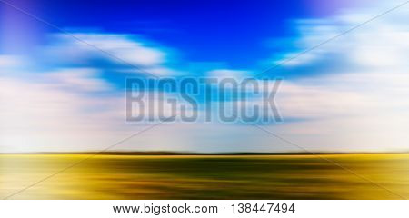 Horizontal vivid vibrant simple minimal landscape cloudscape motion abstraction background backdrop