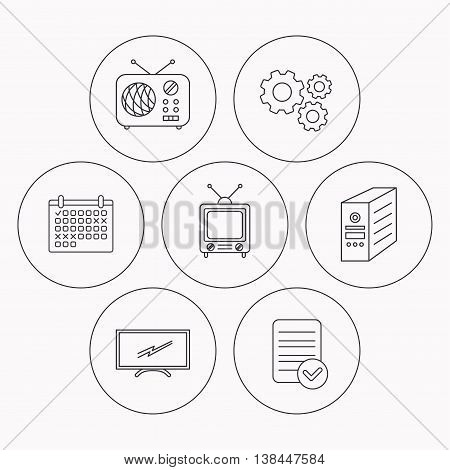 Retro TV, radio and PC case icons. Computer linear sign. Check file, calendar and cogwheel icons. Vector