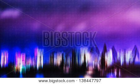 Horizontal Vivid Digital Neon Night City Port Abstraction