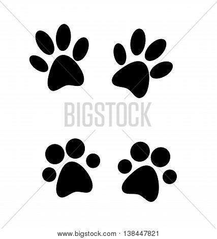 Black paw prints. Paw prints silhouette - vector illustration.