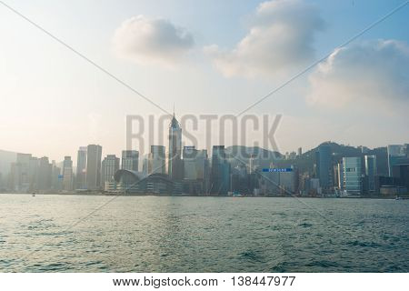 Hong Kong China: 23 OCT 2015 Hongkong Cityscape Victoria Harbour Hongkong Business Center District Hong Kong China