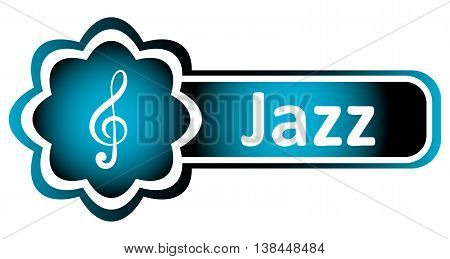 Double icon blue with a treble clef and the word jazz