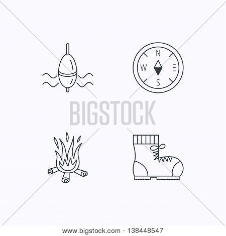 Bonfire, fishing float and hiking boots icons. Compass linear sign. Flat linear icons on white background. Vector