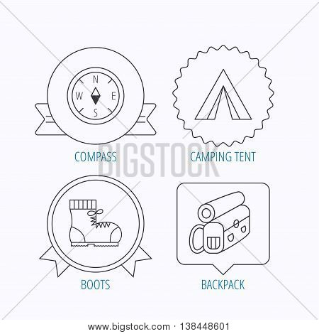 Backpack, camping tent and compass icons. Boots linear sign. Award medal, star label and speech bubble designs. Vector