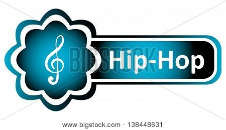 Double icon blue with a treble clef and the word hip hop