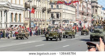 St. Petersburg, Russia - 9 May, Parade avtotehnikm antiquity, 9 May, 2016. Memory Action