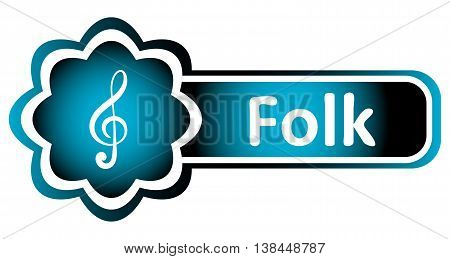 Double icon blue with a treble clef and the word folk