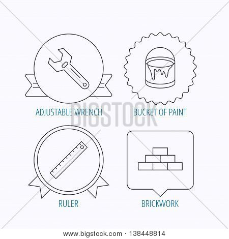 Brickwork, measurement and adjustable wrench icons. Bucket of paint linear sign. Award medal, star label and speech bubble designs. Vector