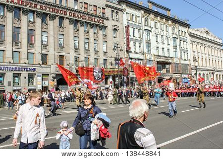 St. Petersburg, Russia - 9 May, People under the flags of Lenin and Stalin, 9 May, 2016. Memory Action