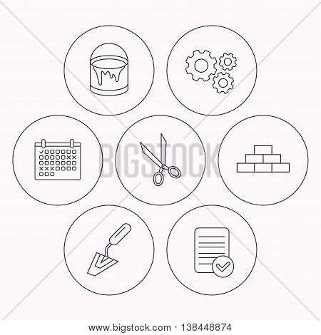 Spatula, scissors and bucket of paint icons. Brickwork linear sign. Check file, calendar and cogwheel icons. Vector