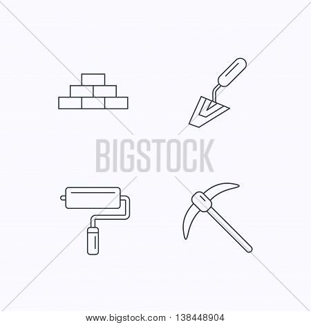 Brickwork, spatula and mining icons. Paint roller linear sign. Flat linear icons on white background. Vector