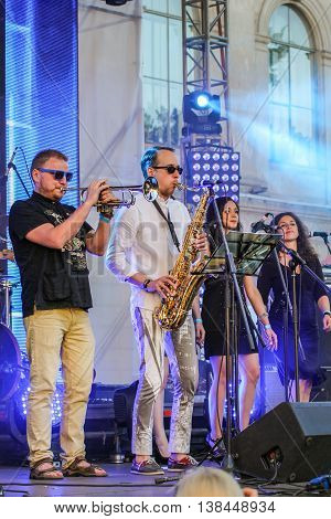 St. Petersburg, Russia - 2 July, Musicians playing the trumpet, 2 July, 2016. Annual international festival of jazz and blues in St. Petersburg.