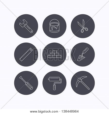 Screwdriver, scissors and adjustable wrench icons. Spatula, mining tool and paint roller linear signs. Brickwork, ruler and painting icons. Flat icons in circle buttons on white background. Vector