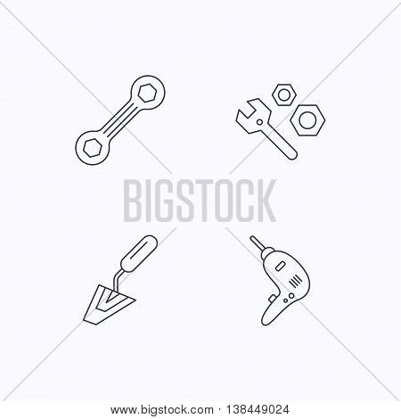 Spanner repair tool, spatula and bolt icons. Drill linear sign. Flat linear icons on white background. Vector
