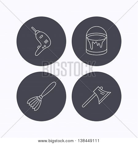Drill tool, bucket of paint and axe icons. Brush linear sign. Flat icons in circle buttons on white background. Vector