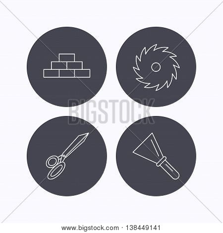 Wall, spatula and scissors icons. Circular saw linear sign. Flat icons in circle buttons on white background. Vector