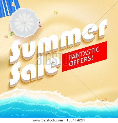 Summer sale bright vector background. Sunny sandy beach with turquoise sea tide, umbrella and mat. Excellent for your cards, luxury invitation, advertising.