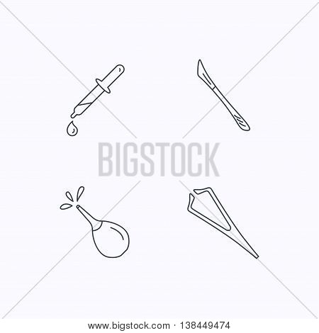 Pipette, medical scalpel and clyster icons. Tweezers linear sign. Flat linear icons on white background. Vector