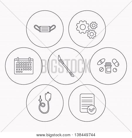 Medical mask, pills and scalpel icons. Enema linear sign. Check file, calendar and cogwheel icons. Vector