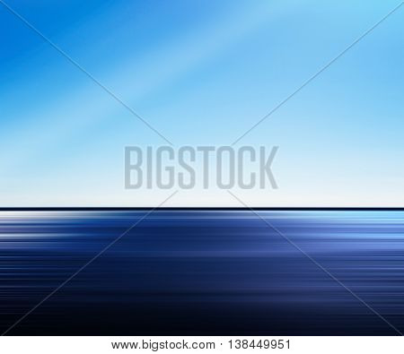 Vivid blue ocean motion abstraction with light