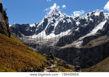 South America Beautiful Cordillera Blanca mountain on the Santa Cruz Trek in Peru