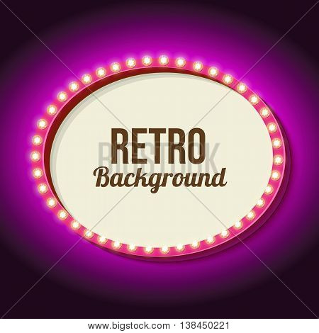 Retro frame with neon pink. Vintage 3d frame with lights on the oval. White empty space for your text, messages, events, advertising. Violet light falls on the black wall. illustration