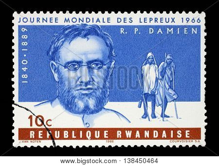 ZAGREB, CROATIA - JULY 03: a stamp printed in Rwanda shows Father Joseph Damien, World Leprosy Day, circa 1966, on July 03, 2014, Zagreb, Croatia