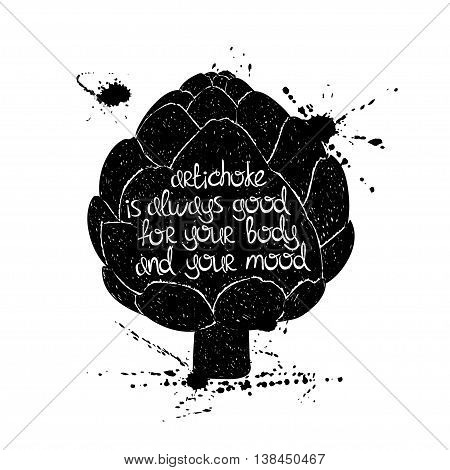 Hand drawn illustration of isolated black artichoke silhouette on a white background. Typography poster with creative poetic quote inside - artichoke is always good for your body and your mood.