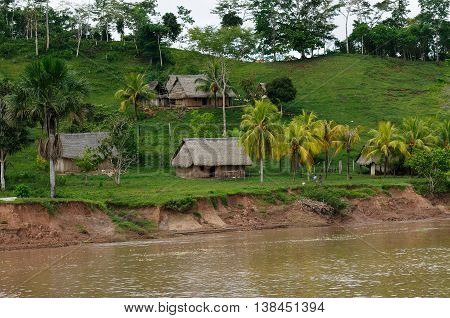 South America Peruvian Amazonas landscape. The photo present typical indian tribes settlement in the Amazon