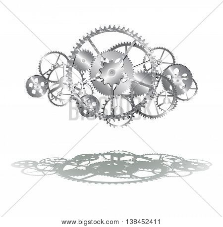 steel gears on the white background illustration clip-art