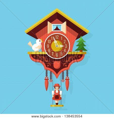 Cuckoo wooden clock flat style vector illustration