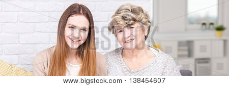 Happy Girl And Her Grandmother
