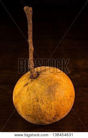 Sandoricum koetjape ,meliaceae fruit on wooden table.