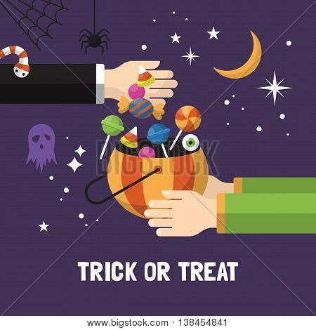 Halloween trick or treat card design. Vector illustration