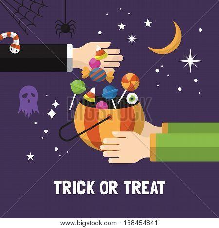 Halloween trick or treat card design. Vector illustration