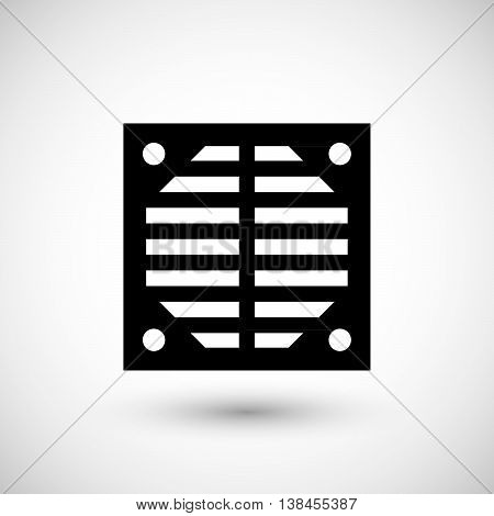 Ventilation grille icon isolated on grey. Vector illustration