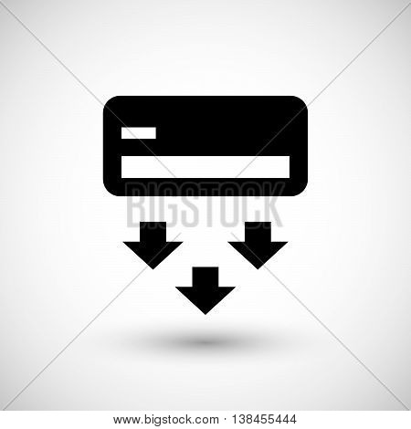 Air conditioner icon isolated on grey. Vector illustration